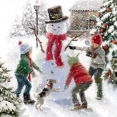 Festive Snowman Musical Christmas Greeting Card