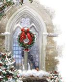 Robin at Church Window Musical Christmas Greeting Card