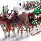 Snowy Sleigh Musical Christmas Greeting Card
