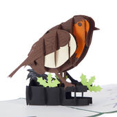 Robin Red Breast With Holly Pop-Up Christmas Greeting Card