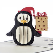 Christmas Penguin Bearing Gifts Pop-Up Christmas Greeting Card