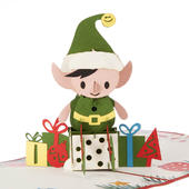 Happy Christmas Elf With Gifts Pop-Up Christmas Greeting Card