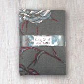 Grey & Burgundy Bold Floral Luxury Ultra Soft Large Ladies Scarf Gift Idea Her