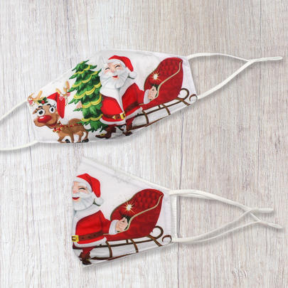 Xmas Novelty Fun Santa & Reindeer Face Mask Durable & Reusable