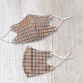 Fashionable Fabric Beige Check Face Mask Durable & Reusable