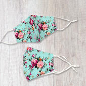 Fashionable Fabric Roses Print On Turquoise Face Mask Durable & Reusable