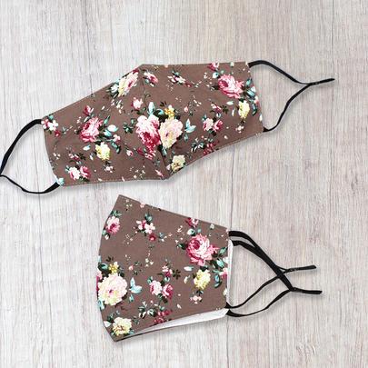 Fashionable Fabric Roses Print On Mocha Face Mask Durable & Reusable
