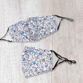 Fashionable Fabric Blue Ditsy Print Face Mask Durable & Reusable