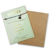 Besties Morse Code Bracelet String With Beads & Heart Charm With Mini Envelope