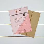 BFF Best Friends Forever Morse Code Bracelet String With Beads & Heart Charm With Mini Envelope