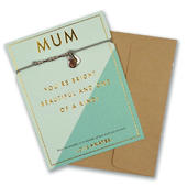 Mum You're One Of A Kind Bracelet String With Beads & Heart Charm With Mini Envelope