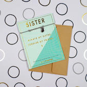 Sister Forever My Friend Bracelet String With Beads & Heart Charm With Mini Envelope