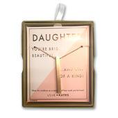 Daughter One Of A Kind Brushed Rose Gold Vertical Bar Necklace In Presentation Box