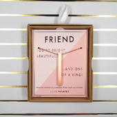 Friend One Of A Kind Brushed Rose Gold Vertical Bar Necklace In Presentation Box