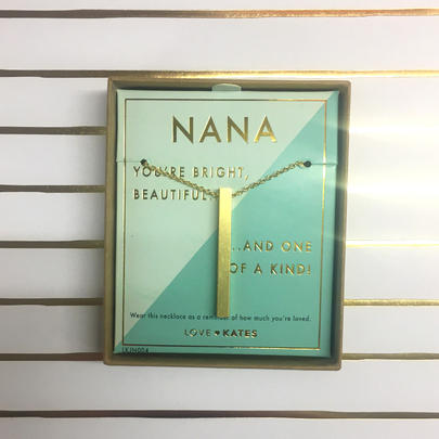 Nana One Of A Kind Brushed Gold Vertical Bar Necklace In Presentation Box