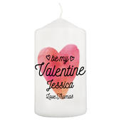 Personalised Be My Valentine Pillar Candle - Personalise It!