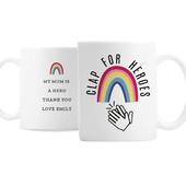 Personalised Rainbow 'Clap for Heroes' Mug - Personalise It!