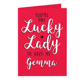Personalised You're One Lucky Lady Card Add Any Name - Personalise It!