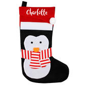 Personalised Name Only Penguin Christmas Stocking - Personalise It!