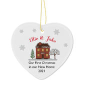 Personalised Cosy Christmas Ceramic Heart Decoration - Personalise It!