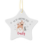 Personalised 1st Christmas Festive Fawn Ceramic Star Decoration - Personalise It!