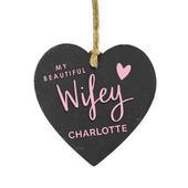 Personalised Wifey Slate Heart Decoration - Personalise It!