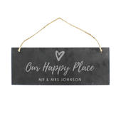 Personalised Our Happy Place Hanging Slate Plaque - Personalise It!