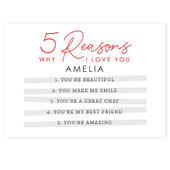 Personalised 5 Reasons Why Card Add Any Name - Personalise It!