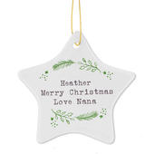 Personalised Christmas Holly Ceramic Star Decoration - Personalise It!