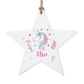Personalised Unicorn Wooden Star Decoration - Personalise It!
