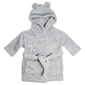Personalised Elephant 0-6 Months Grey Hooded Baby Dressing Gown - Personalise It!
