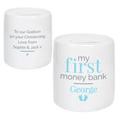 Personalised Blue My First Ceramic Money Box - Personalise It!