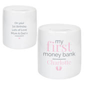 Personalised Pink My First Ceramic Money Box - Personalise It!