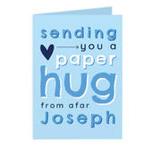 Personalised Blue Hug From Afar Card Add Any Name - Personalise It!