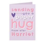Personalised Pink Hug From Afar Card Add Any Name - Personalise It!