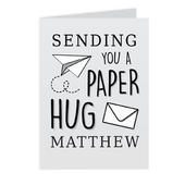 Personalised Grey Hug From Afar Card Add Any Name - Personalise It!