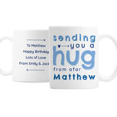 Personalised Blue Hug From Afar Mug - Personalise It!