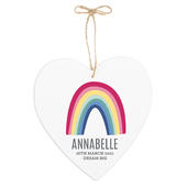 Personalised Rainbow Large Wooden Heart Decoration - Personalise It!