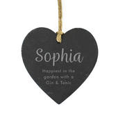 Personalised Free Text Slate Heart Decoration - Personalise It!