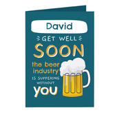 Personalised Get Well Soon Card Add Any Name - Personalise It!