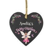 Personalised Fairy Garden Slate Heart Decoration - Personalise It!
