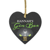 Personalised Gin Bar Slate Heart Decoration - Personalise It!
