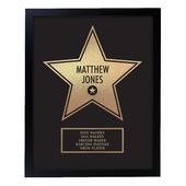 Personalised Walk of Fame Star Award Black Framed Print - Personalise It!