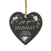 Personalised Abstract Rose Printed Slate Heart Decoration - Personalise It!