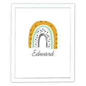 Personalised Mustard & Green Rainbow White Framed Print - Personalise It!