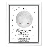 Personalised Baby To The Moon and Back White Framed Print - Personalise It!