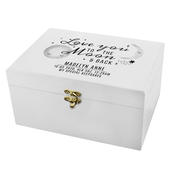 Personalised Baby To The Moon and Back White Wooden Keepsake Box - Personalise It!