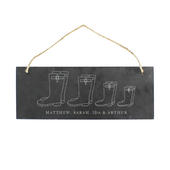 Personalised Welly Boot Family of Four Hanging Slate Plaque - Personalise It!