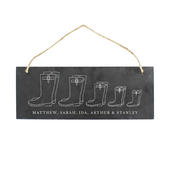 Personalised Welly Boot Family of Five Hanging Slate Plaque - Personalise It!