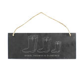 Personalised Welly Boot Family of Three Hanging Slate Plaque - Personalise It!